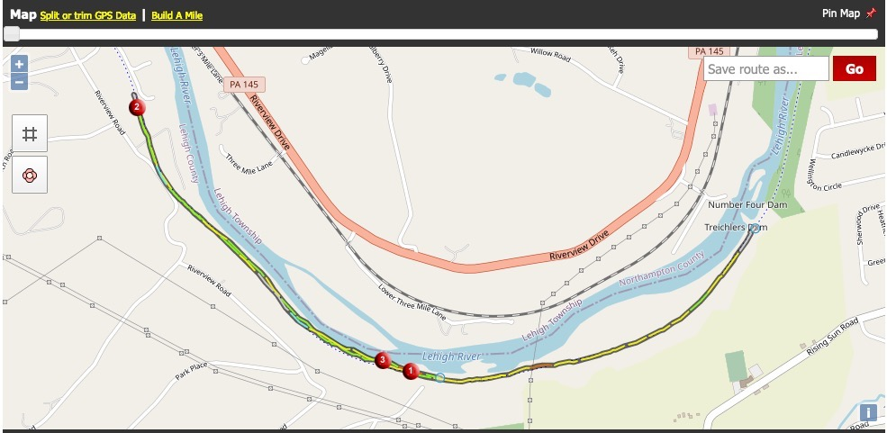 Screenshot with a coloured line indicating speed, running along a river. The map also shows features such as a railway line and nearly roads.